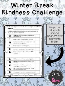 Winter Break Kindness Challenge