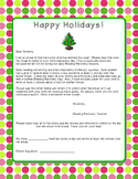 Reading Recovery Winter Break Letter to Parents/Reading Log