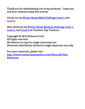 Winter Break Math Challenge Level 2