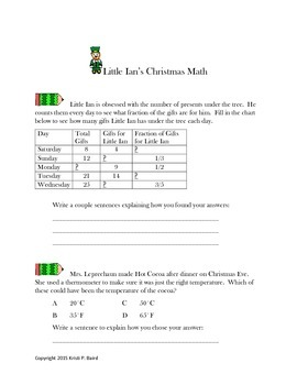 Little Ian Learns Christmas Math- Multi-Step Problem Solving