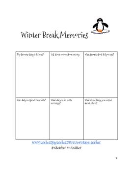 Winter Break Memories Foldable Printable