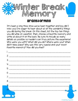 Winter Break Memory Writing