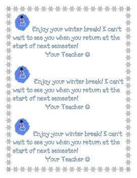 Winter Break Note to Students