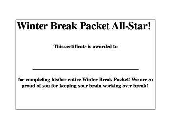 Winter Break Packet Certificate