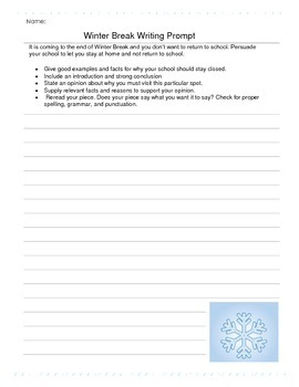 Winter Break Persuasive Writing