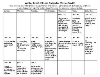 Winter Break Physical Activity Calendar