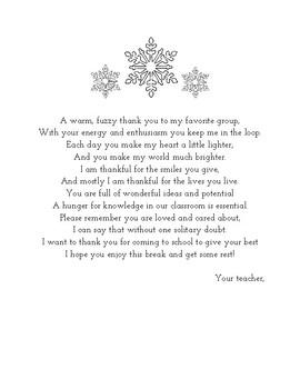 Winter Break Poem for Students
