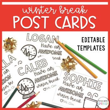 Winter Break Post Cards (EDITABLE)