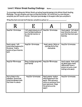 Winter Break Level 1 Reading Challenge