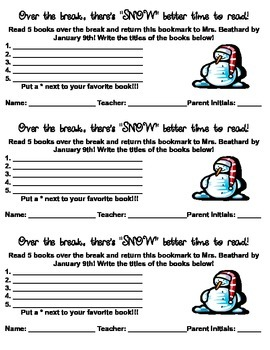 Winter Break Reading Incentive Bookmark