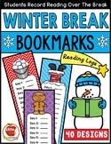 Winter Break Reading Log Bookmarks