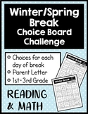 Winter Break Reading and Math Work Choice Boards