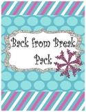 Winter Break Review- Back From Break Review Activities