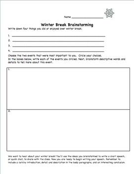 Winter Break Writing and Speech