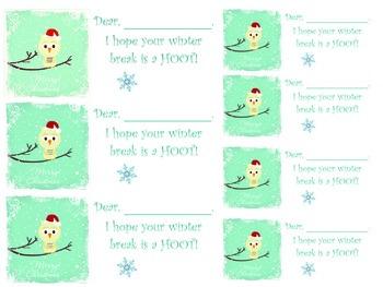 Winter Break Teacher to Student Gift Tags