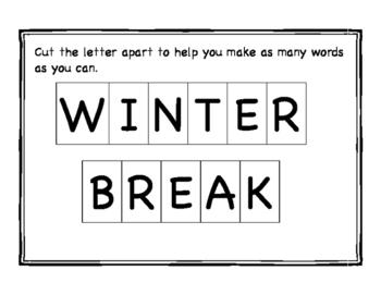 Winter Break Word Making Activity