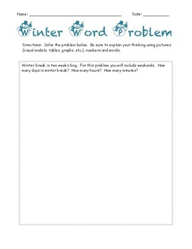 Winter Break Word Problem - How many days, hours and minutes