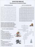 Winter Break Wordsearch Crossword Maze