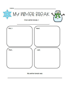 Winter Break Writing Graphic Organizer