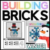 Winter Brick Building Mats & Task Cards: Math & Reading Activities