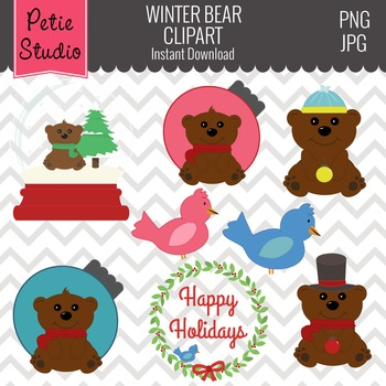 Winter Brown Bear Clipart // Christmas Ornament Clipart - Winter112