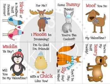 Winter Buddies Printable Valentine's Day Cards
