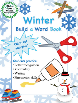 Winter Build a Word Book - Color, Cut and Glue Activity