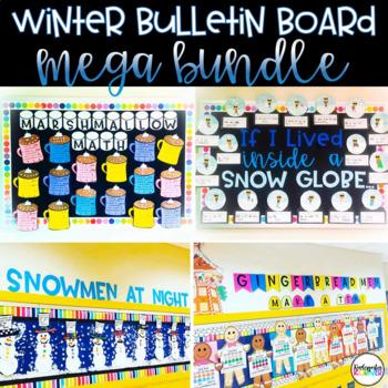 Winter Bulletin Board Mega Bundle 4 Cold Weather Craftivities Writing Math K 1