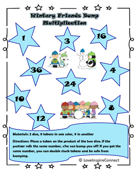 Multiplication Bump Game: Winter Theme