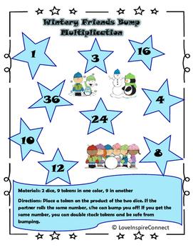 Multiplication Bump Game: Winter Theme