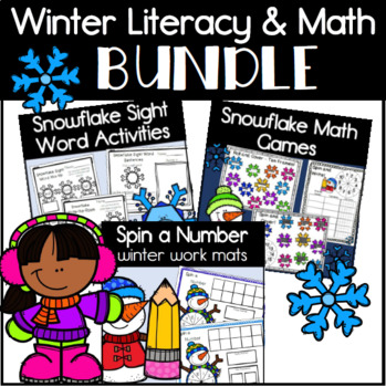 Winter Activities Bundle with 3 Kindergarten Packs for Literacy and Math