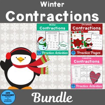 Winter Bundle Contractions: Worksheets and Game boards