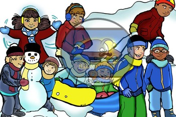 Winter Bundle: Kids and Objects! (32 BW and Color Clip-Art!