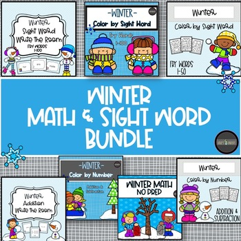 *Winter Bundle* Addition, Subtraction, & Sight Words