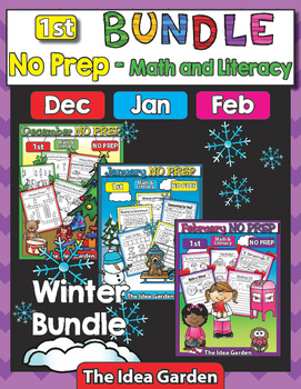 Winter Bundle - NO PREP Math & Literacy (First) - Dec/Jan/Feb
