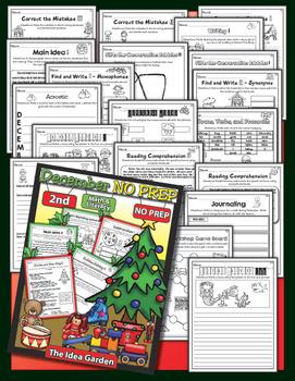 Winter Bundle - NO PREP Math & Literacy (Second) - Dec/Jan/Feb
