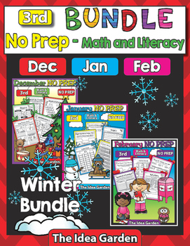 Winter Bundle - NO PREP Math & Literacy (Third) - Dec/Jan/Feb