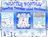 Winter Bundle Reading comprehension passages and questions + word problems! Gr 1