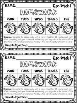 Third Grade Math & ELA Homework: Winter {Bundle}