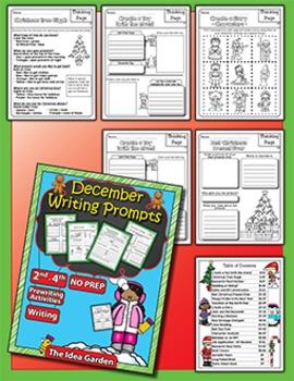 Winter Bundle - Writing Prompts NO PREP (Second-Fourth) - Dec/Jan/Feb