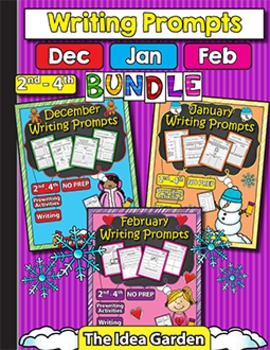 Winter Bundle - Writing Prompts NO PREP (Second-Fourth) -
