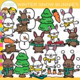 Winter Bunnies Clip Art