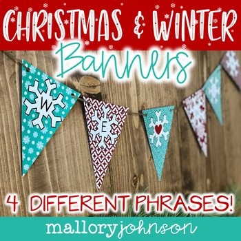 Red and Aqua Winter Bunting