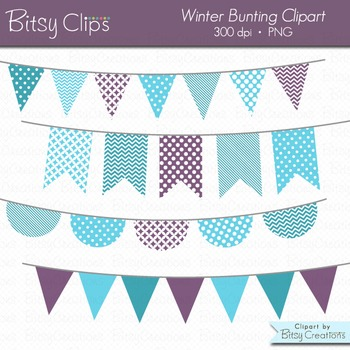 Winter Bunting Clipart Digital Art Set Blue Purple Banner Flag