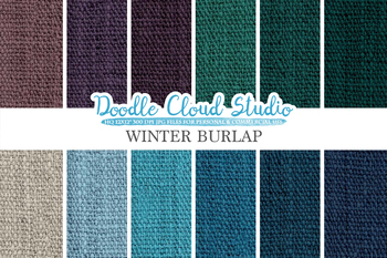 Winter Burlap Fabric digital paper pack, cool colors Backgrounds