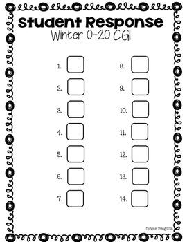 Winter CGI Math Word Problems 0-20 Task Cards