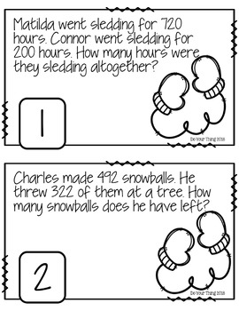Winter CGI Math Word Problems Numbers 0-1000 Task Cards Grades 1-3