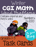 Winter CGI Math Word Problems Numbers 0-1000 Task Cards Gr