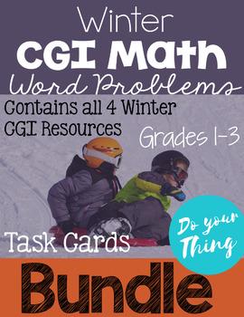Winter CGI Math Word Problems Task Cards Bundle (4 sets)