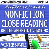 Winter COMBO Differentiated Nonfiction Close Reading Texts and Questions Bundle